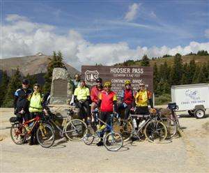 Laura and I with a tour group atop Hoosier Pass in Colorado on a trip from Albuquerque to Denver