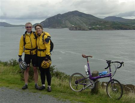 Laura and I at Lough Swilley in Ireland.  The bike is one of our Bike Fridays