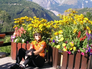 Laura at the beginning of the climb up the Col de Sarenne